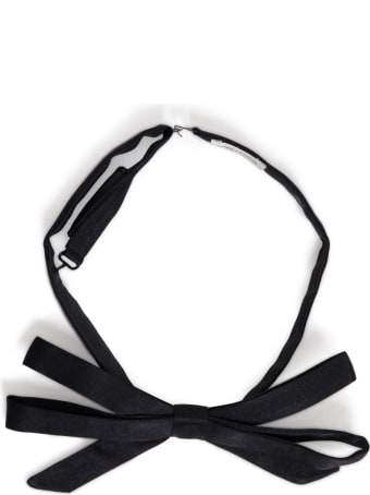 Saint Laurent Black Silk Satin Bow Tie
