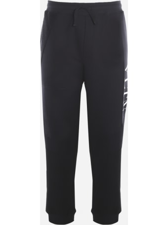 Valentino Cotton Blend Trousers With Vltn Print