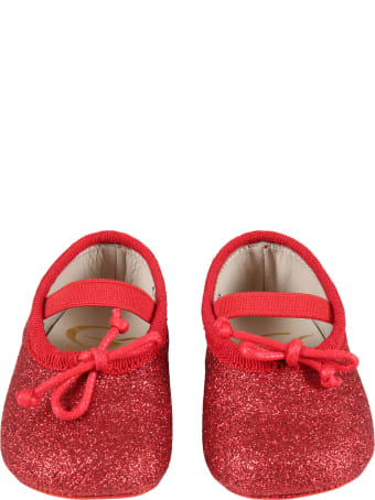 Gallucci Red Ballet Flats For Baby Girl