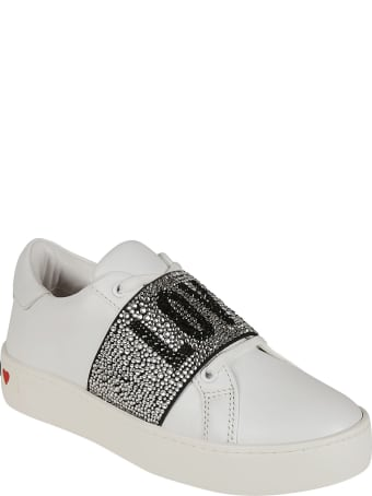 Love Moschino Crystal Embellished Love Sneakers