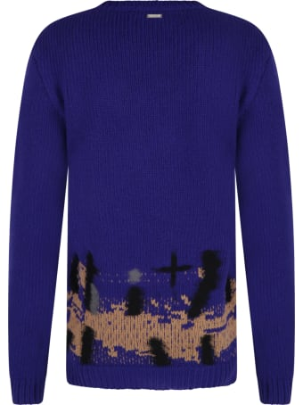 Les Hommes Black Sweater For Boy With Embroideries