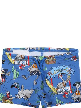 Stella McCartney Kids Blue Swim Short For Baby Boy With Grey Flamingos