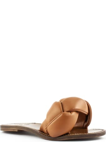 Silvano Sassetti Brown Leather Low Sandals