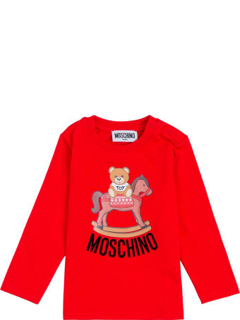 Moschino Long-sleeved Red Cottont-shirt With Teddy Bear Front Print