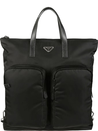 Prada Top Zip Logo Plaque Tote