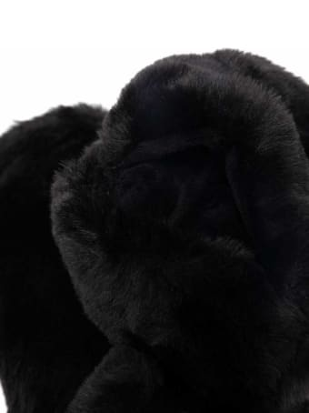 Apparis Black Coco Gloves In Ecological Fur