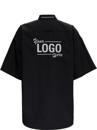 Balenciaga Black Your Logo Here Short Sleeve Poplin Shirt
