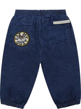 Stella McCartney Kids Blue Jeans For Baby Boy With Dog