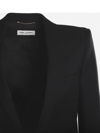 Saint Laurent Single-breasted Tube Jacket In Virgin Wool