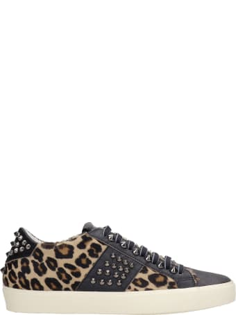 Leather Crown Sneakers In Animalier Pony Skin