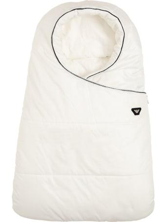 Emporio Armani White Nylon  Padded Blanket  With Logo