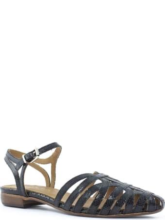 Duccio del Duca Metallic Black Leather Sandal