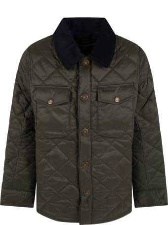 Barbour Green Jacket For Boy With Logo