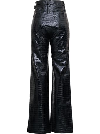 Rotate by Birger Christensen Rotie High Waist Trousers In Black Coated Fabric