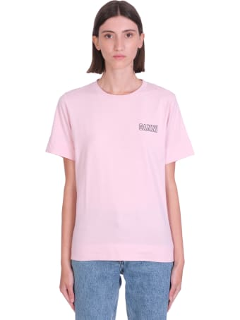Ganni Thin Software T-shirt In Rose-pink Cotton