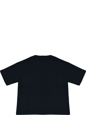 Fendi Dark Blue Teen T-shirt With Logo Trama