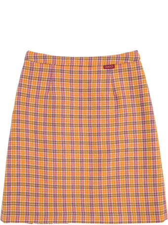 Gucci Orange And Purple Checked Wool Skirt