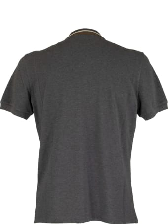 Brunello Cucinelli Cotton Piqué Slim Fit Polo Shirt With Striped Knit Collar