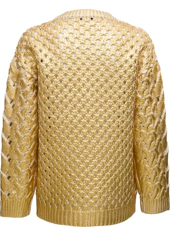 Valentino Perforated Gold Colored Wool Sweater