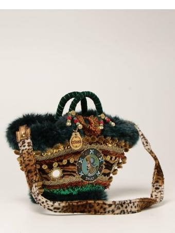 Sikuly Handbag Sinfunia Sikuly Coffa Bag With Fur And Mirrors