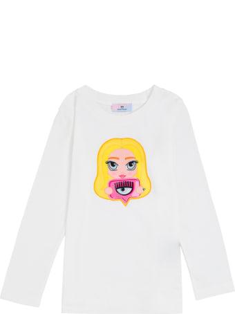 Chiara Ferragni Long-sleeved Cotton T-shirt With Mascot Print