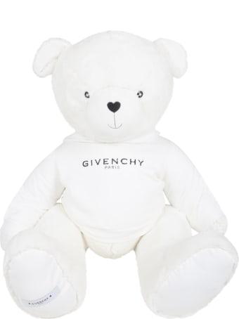 Givenchy White Kids Teddy Bear With Black Logo