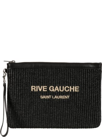 Saint Laurent Top Zip Knit Logo Clutch