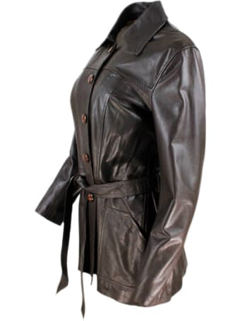 Barba Napoli Three-quarter Length Leather Jacket With Belt And Button Closure.