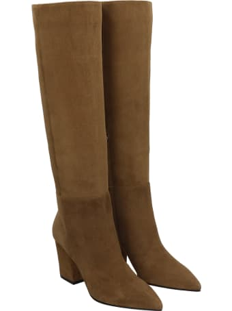 Sergio Rossi Boots In Leather Color Suede