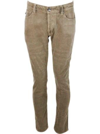 Sartoria Tramarossa Leonardo Trousers In Velvet With Wide French Rib In Stretch Cotton With Five America Pockets With Tailored Stitching