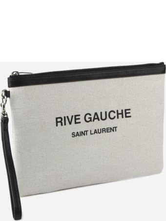 Saint Laurent Linen Pouch With Logo