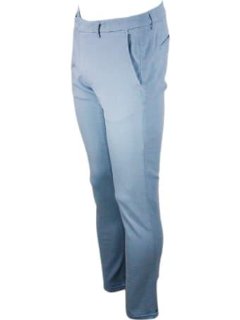 Sartoria Tramarossa Luis Slim Trousers In Stretch Cotton Gabardine With America Pockets With Tailored Stitching