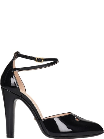 Gucci Sandals In Black Patent Leather
