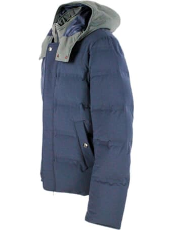 Kired Down Jacket In Technical Fabric Padded With Real Goose Down With Detachable Hood In Contrasting Color And Closure With Zip And Buttons