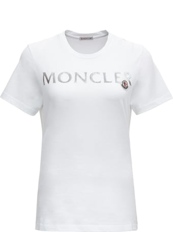 Moncler Cotton T-shirt With Silver Colored Logo