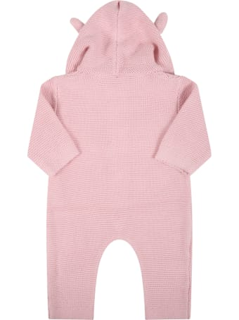 Stella McCartney Kids Pink Jumpsuit For Baby Girl With Bears Ears
