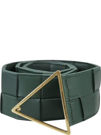 Bottega Veneta Triangle Buckled Woven Belt