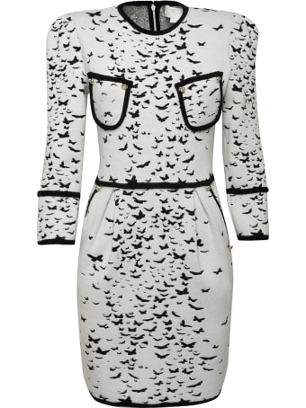 Genny White Jacquard Butterflies All-over Bodycon Dress