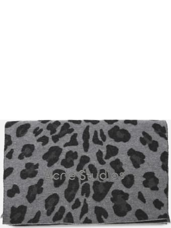 Acne Studios Wool Scarf With All-over Animalier Print