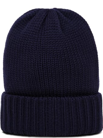 Moncler Grenoble Blue Wool Hat With Logo Patch