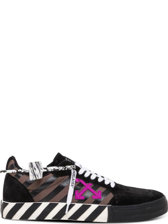 Off-White Low Vulcanized Black Leather And Fabric Sneakers