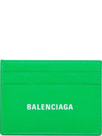 Balenciaga Green Leather Card Holder With Logo