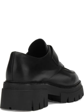 Ash Black Leather Lord Monk-style Shoes