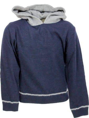 Liu-Jo Crewneck Sweater With Hood In Fleece-like Wool