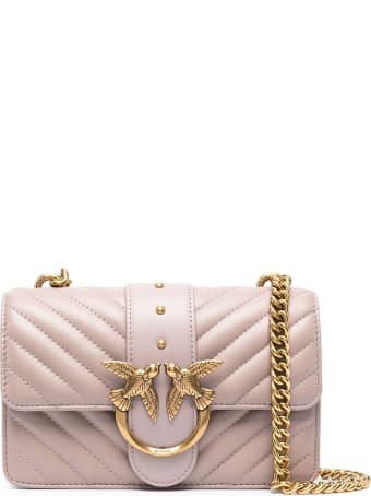 Pinko Love Crossbody Bag In Quilted Pink Leather