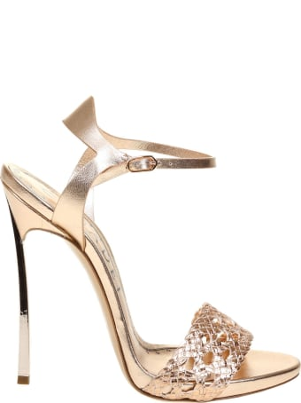 Casadei Versilia Sandal With Woven Vegan Leather And Gold Laminated Leather