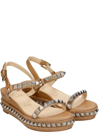 Christian Louboutin Pyraclou 60 Wedges In Beige Leather