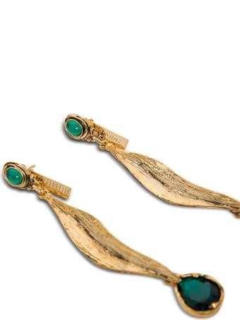 Alberta Ferretti Golden Metal Earrings With Green Stones
