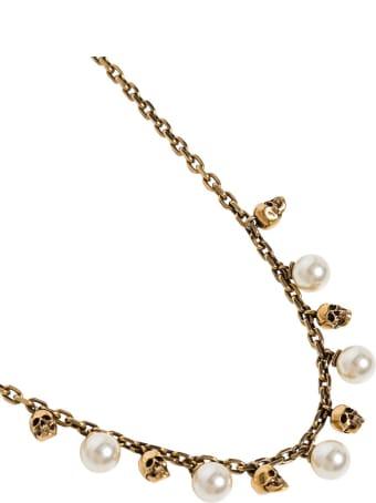 Alexander McQueen Skull Necklace In Antique Brass With Pearls