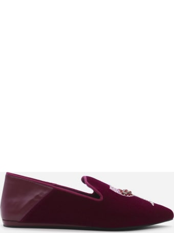 Kurt Geiger Velvet Loafers With Embroidery And Beads
